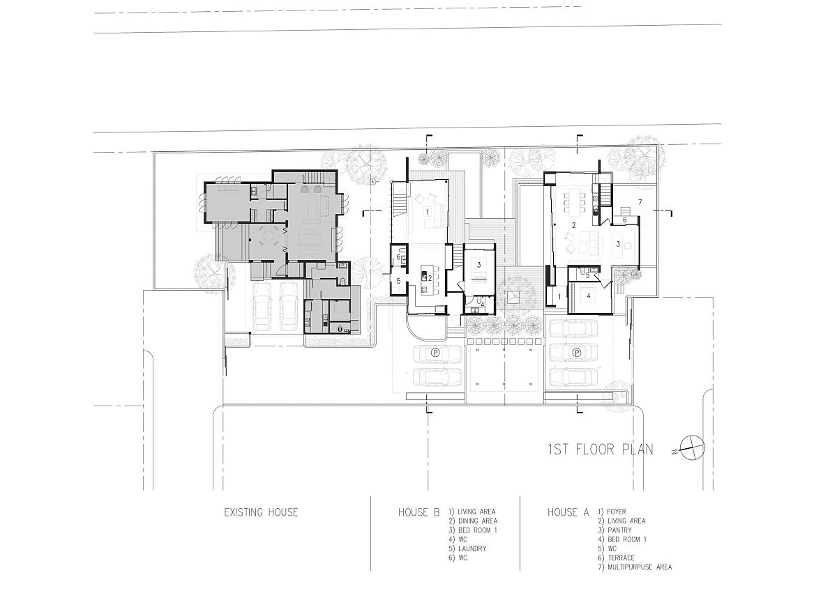 First level floor plan of the Two Houses