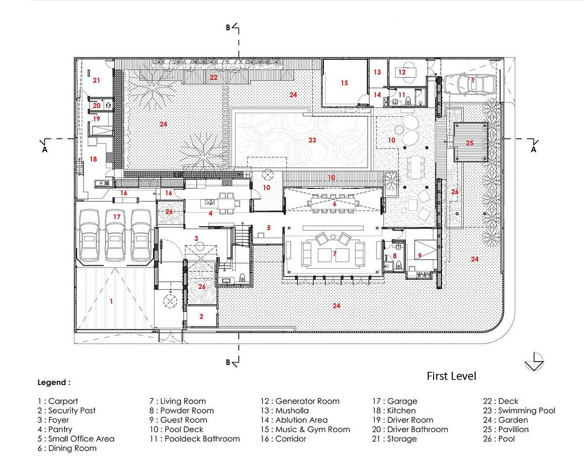 Floor plan of first level of Denpassar Residence in Jakarta