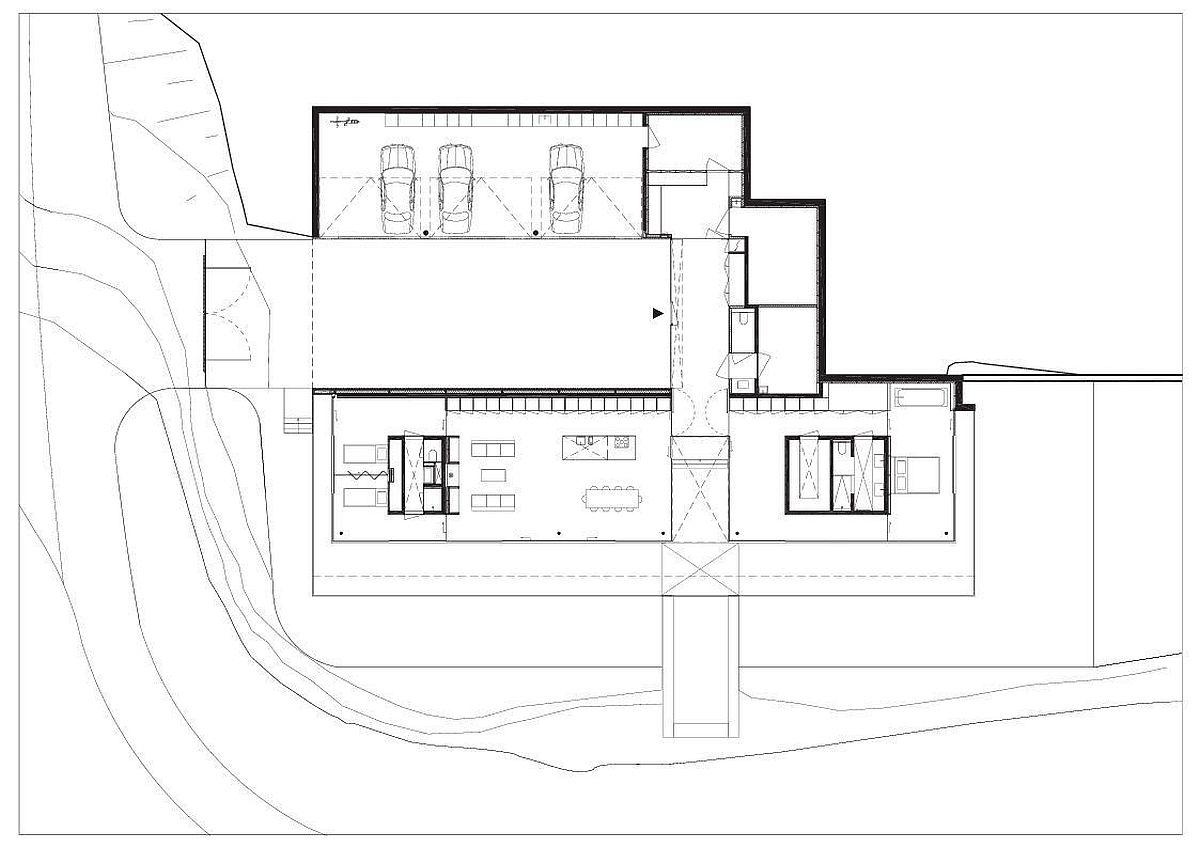 Floor plan of the minimal villa in Thuringia, Germany by Paul de Ruiter Architects