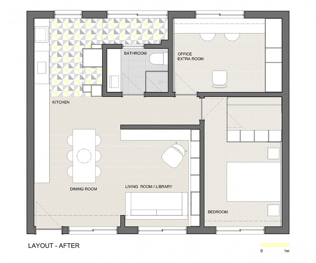 Floor plan of the small apartment after renovation