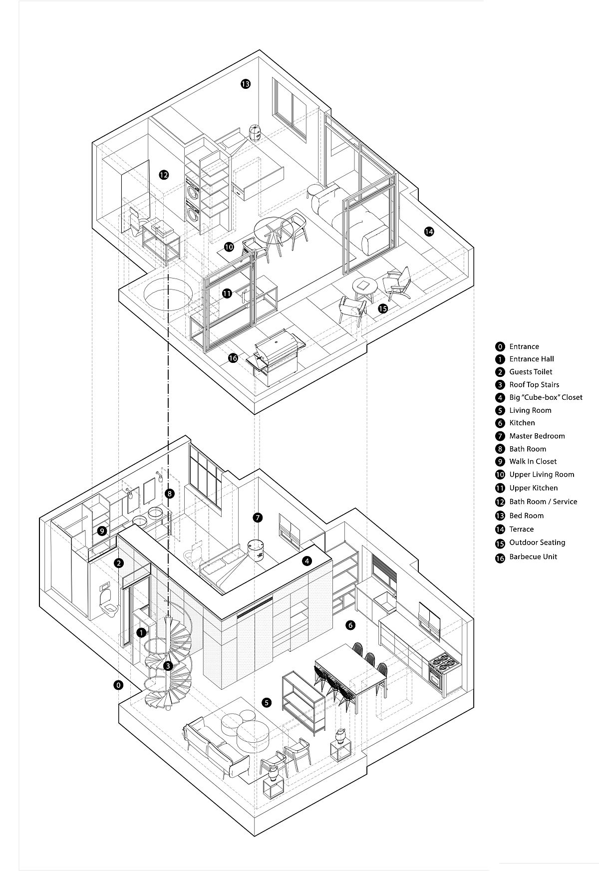 Floor plan of the twin level home in Tel Aviv