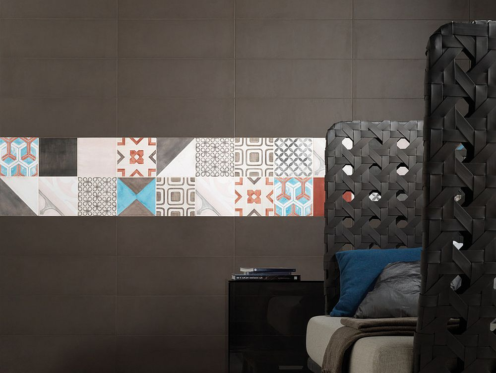 Fun patchwork of patterned tiles adds color and personality to the contemporary bedroom [Design: Fiandre by Eurowest]