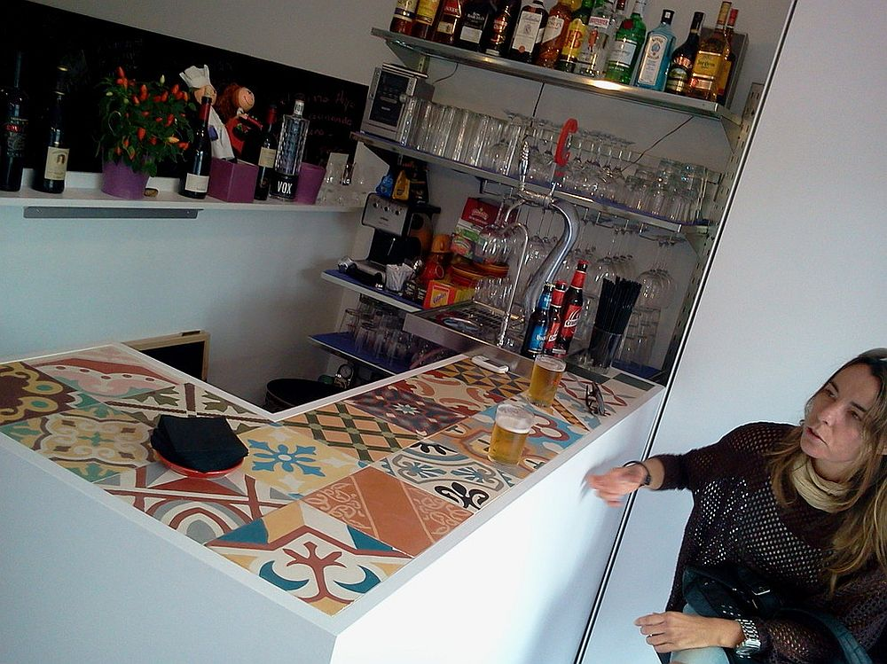 Fun way to create a lively bar counter! [Design: Encaustic Mosaic Tiles]
