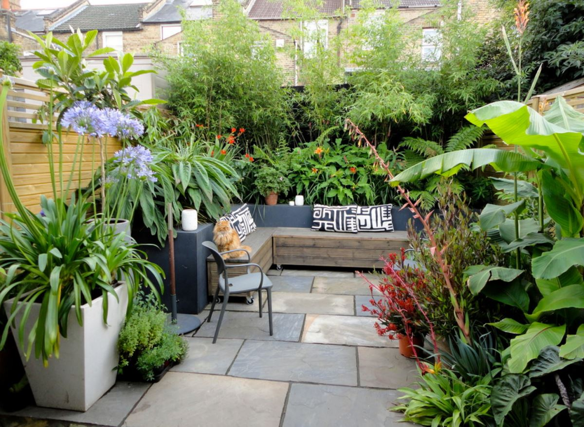 Garden oasis with ample plants