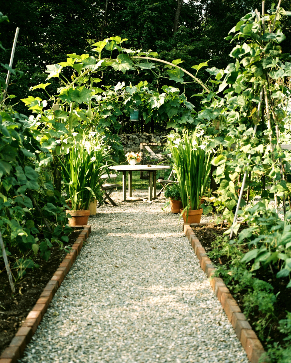 Garden path to a seating area