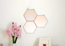 Geo honeycomb wall mirror from Etsy shop Noja Glass Design