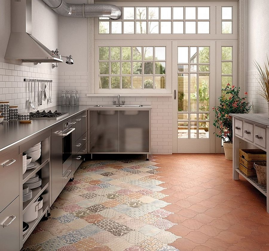 25 creative patchwork tile ideas full of color and pattern for Carrelage terre cuite rouge