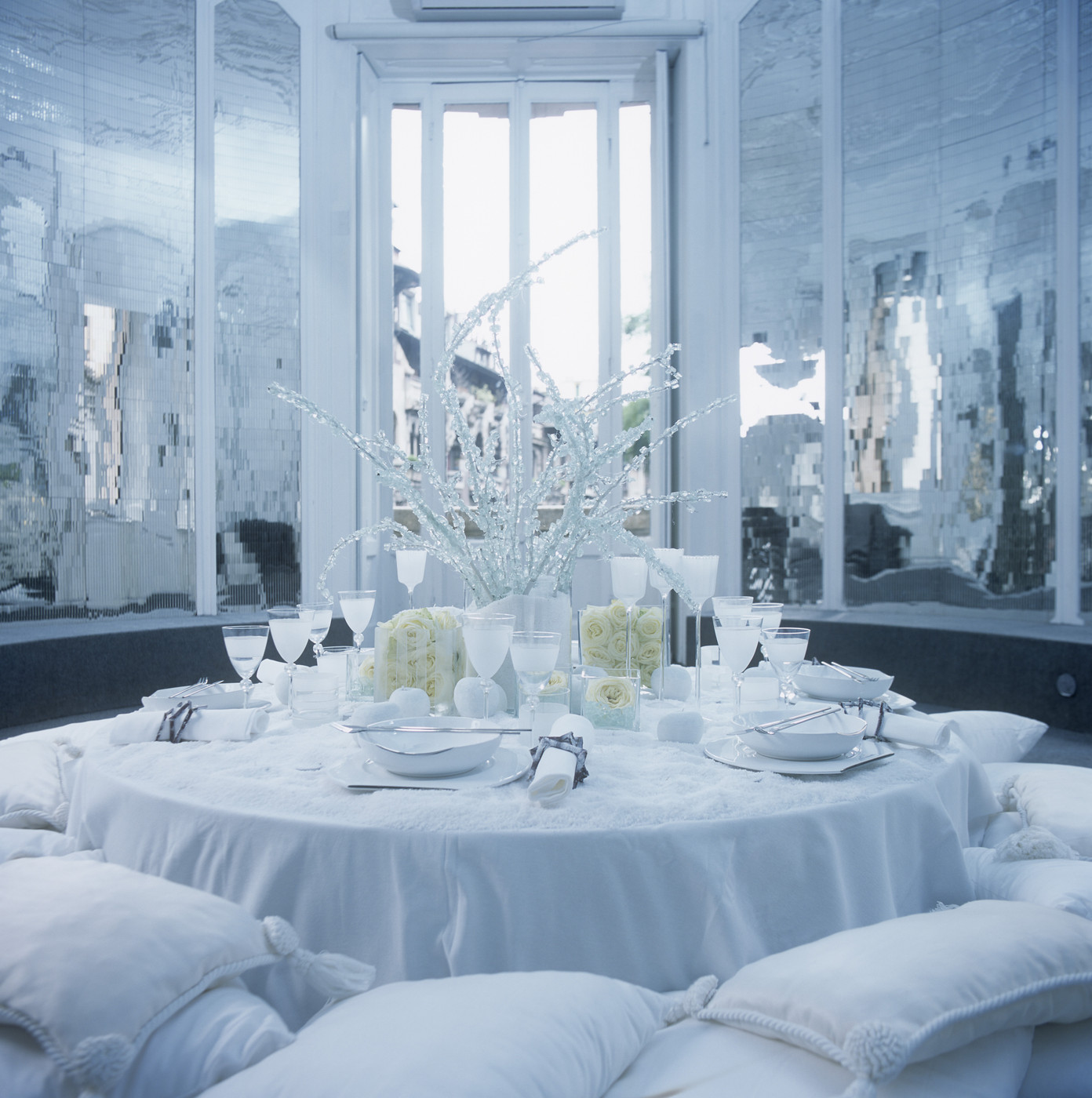Glamorous white-on-white dining room palette
