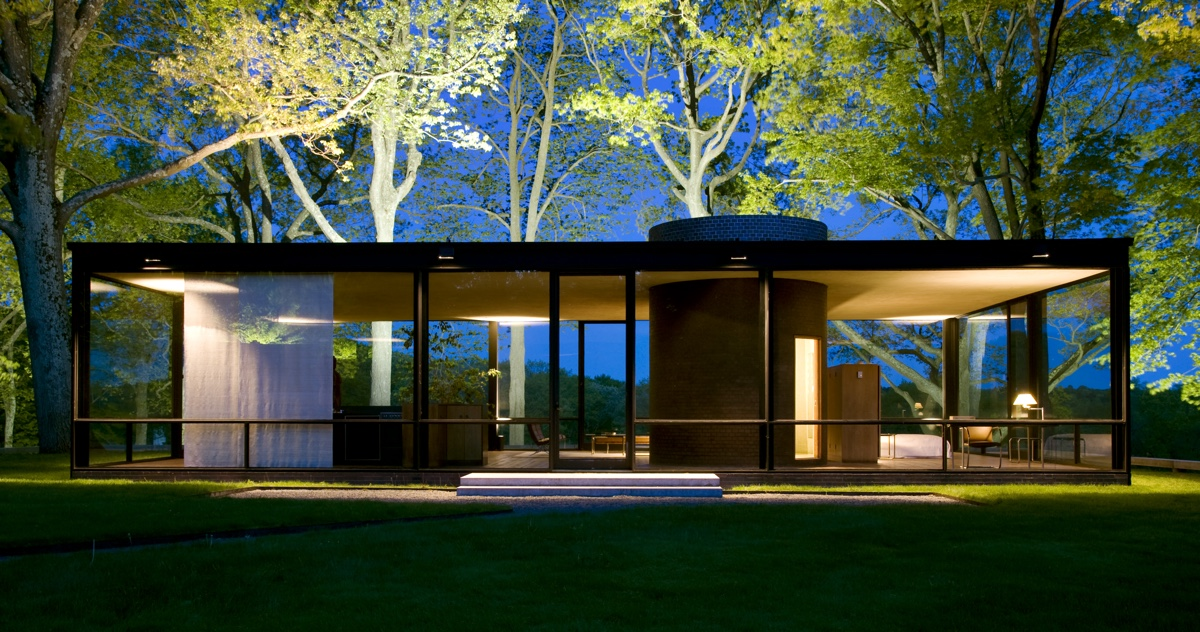 Architect Philip Johnson's Glass House. Photo by Stacy Bass, courtesy of The Glass House, via Connecticut Magazine.