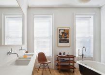 Gorgeous bathroom combines Scandinavian style with the living bathroom trend