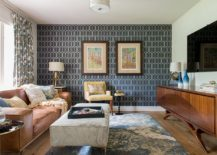 Gorgeous midcentury modern family room with geometric wallpaper