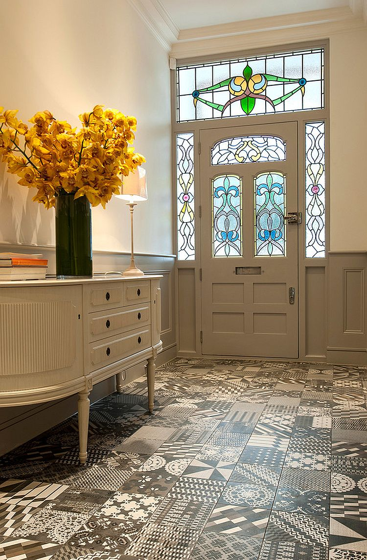 Gorgeous use of patterned tiles for the contemporary entry [Design: Surface Tiles/ Patricia Urquiola]