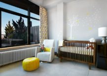 Gray, yellow and white modern nursery with a cool ambiance