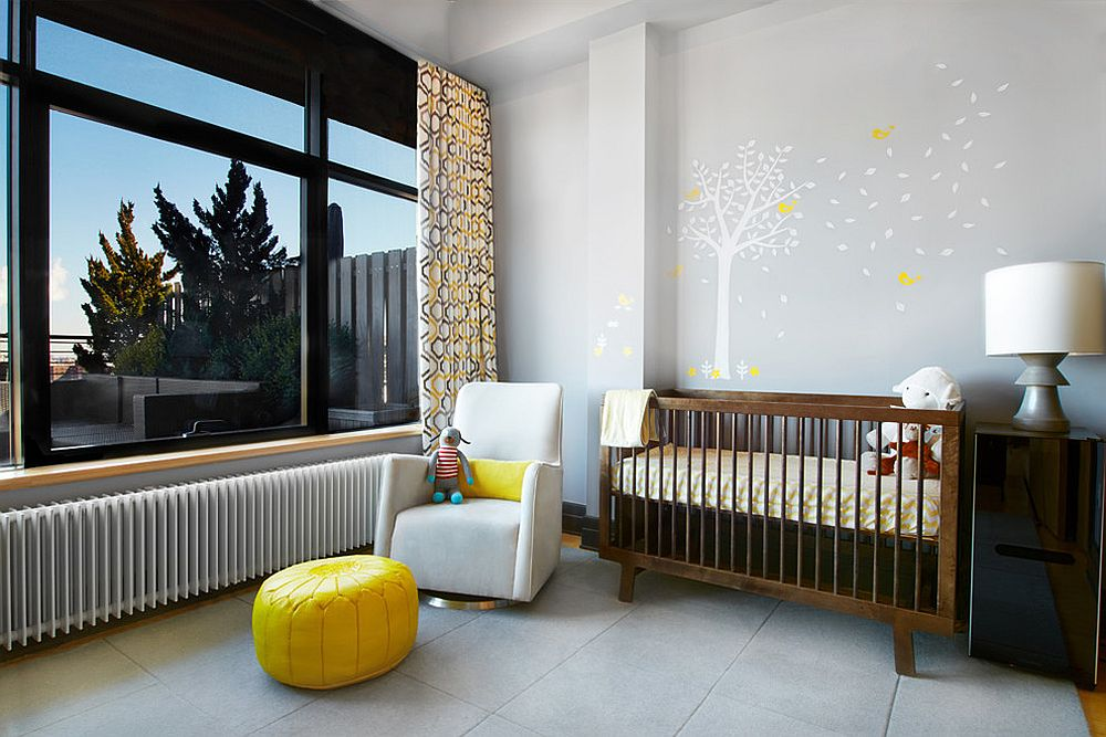 Gray, yellow and white modern nursery with a cool ambiance [Design: Karen Chien]