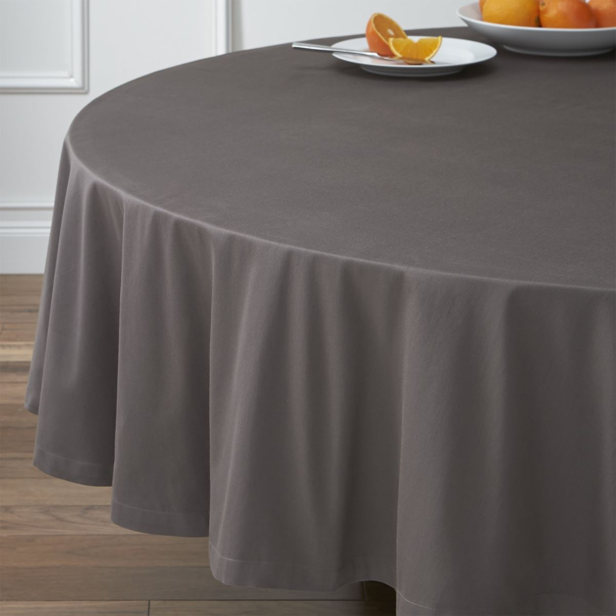Grey round tablecloth from Crate & Barrel