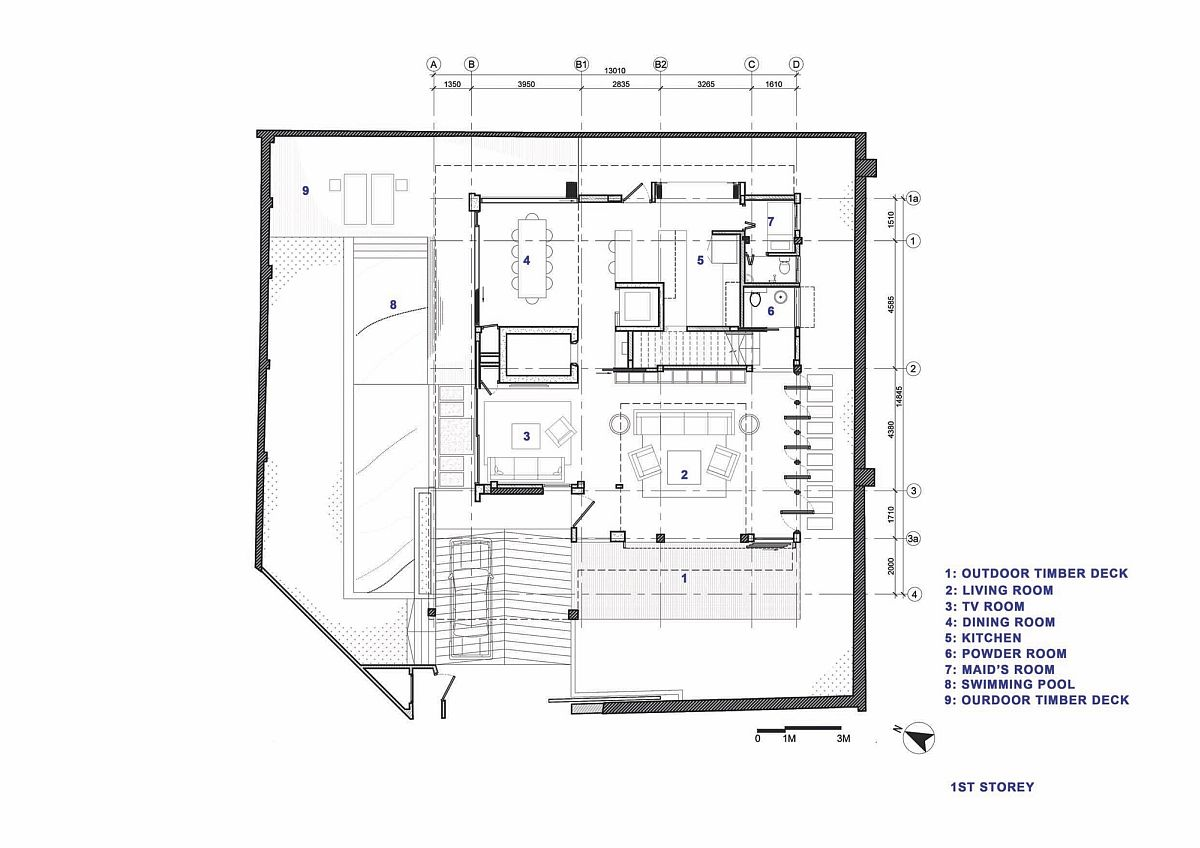 Ground level floor plan of the chic home in Singapore