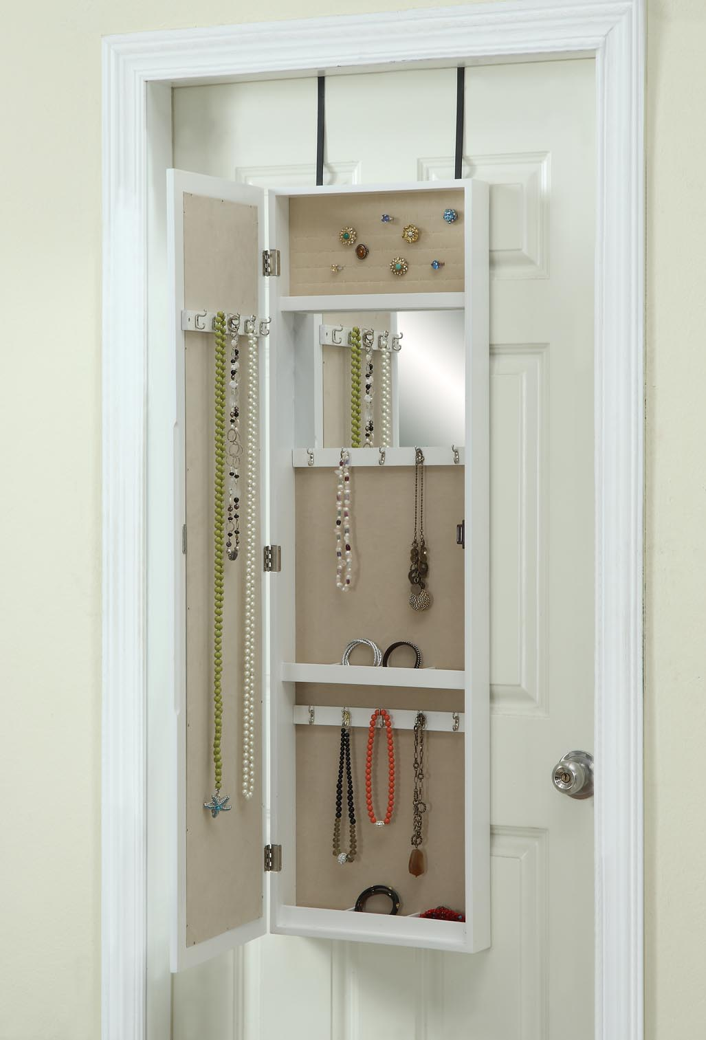 View in gallery Handy mirrored jewelry armoire from Hives u0026 Honey & Bring Home Functional Style with an Over-the-Door Mirror