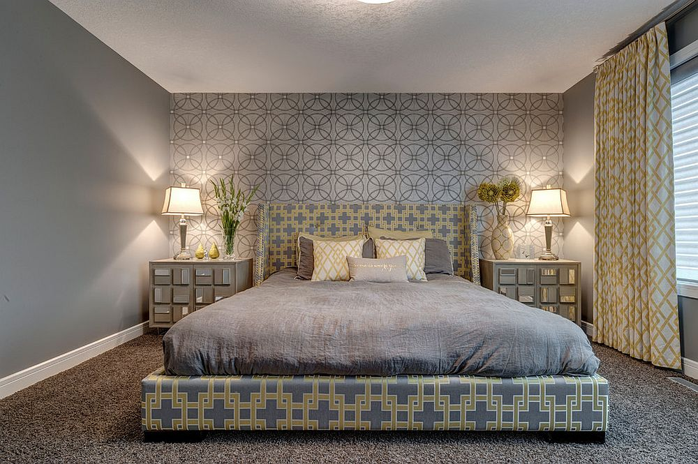 Headboard wall is the showstopper of this bedroom [Design: Decorating Den Interiors - Decorate with Kate]