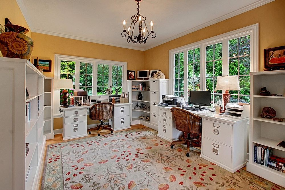 Home office for a couple makes complete use of the corner space on offer with open shelving and cabinets [From: Ty Evans, Windermere Real Estate]
