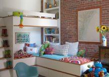 Industrial kids' bedroom with loft beds