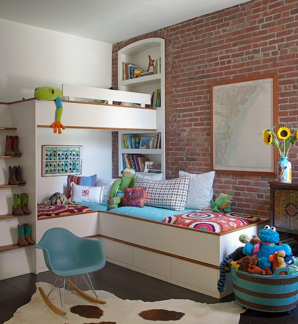 Industrial kids' bedroom with loft beds [Design: Savannah Surfaces]