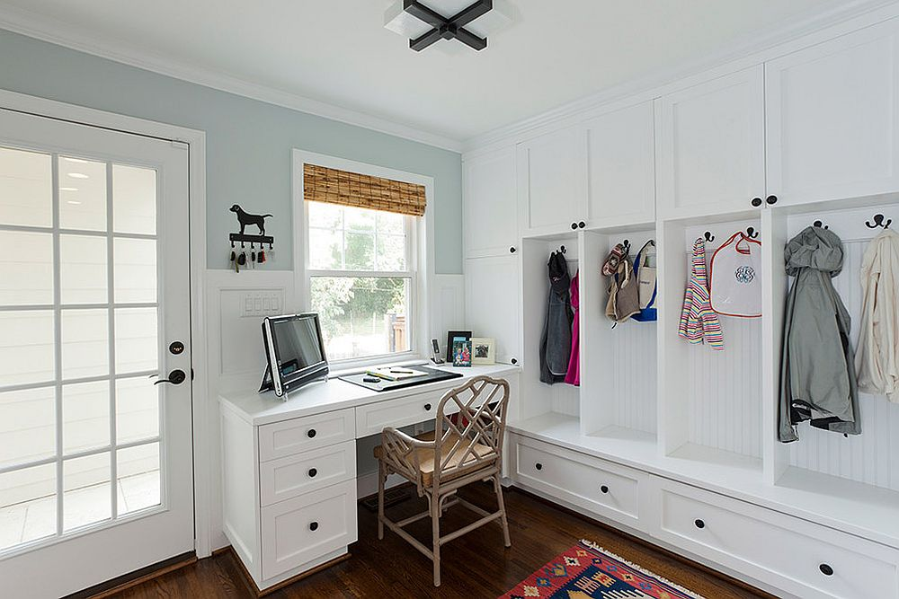 Keeping the design of the mudroom home workspace simple and stylish [From: Urban Building Group / Jim Schmid Photography]