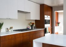 Kitchen with top cabinets in white, polished finish and mahogany finish for the lower cabinets