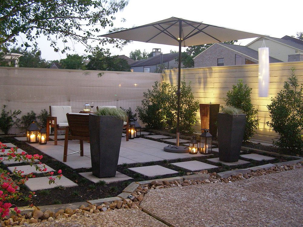 Lantern style lighting brings an air of dreaminess to the contemporary landscape [Design: Kirkpatrick Design]