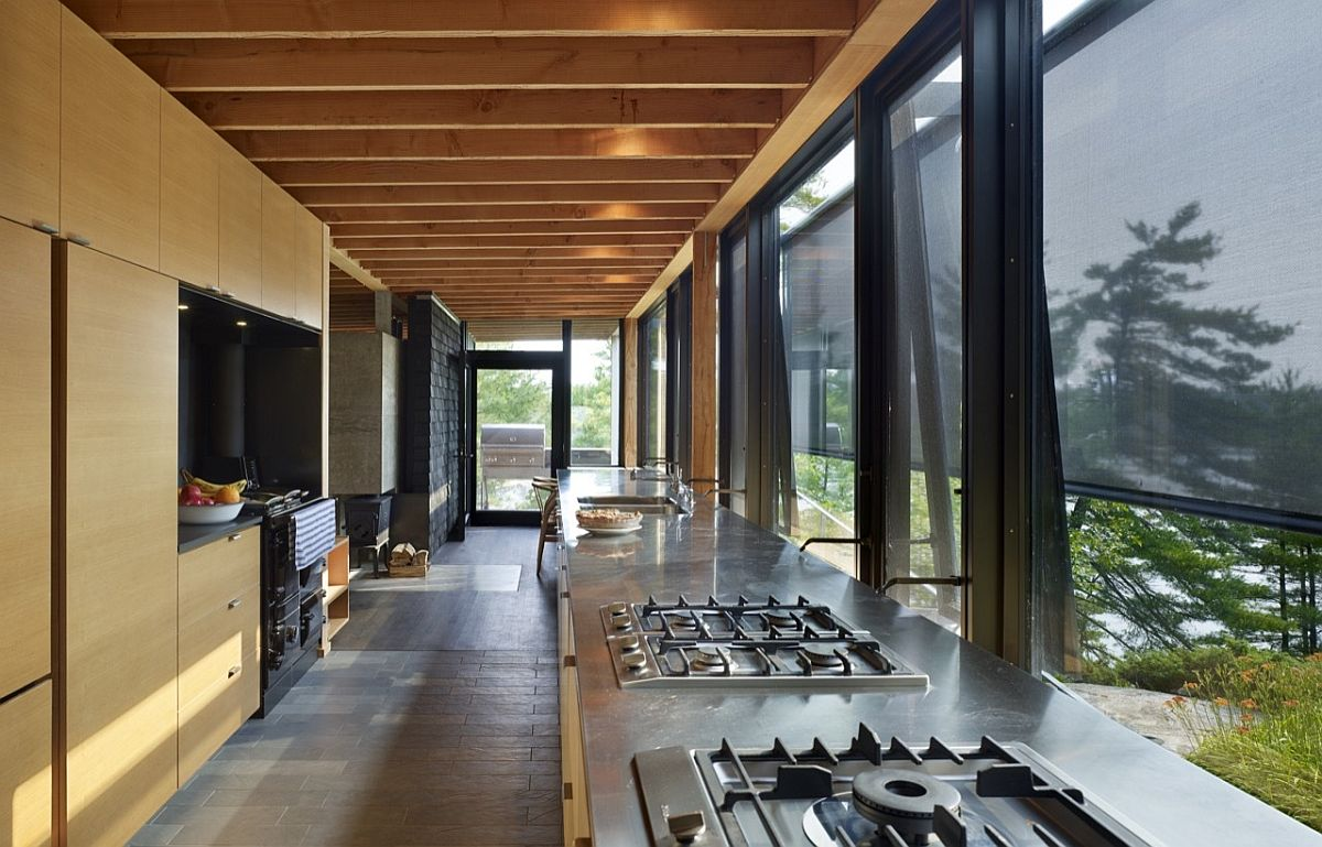 Large kitchen also acts as a spacious hallway that lets you take in the views