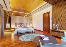 Lavish master bedroom combines modern and Javanese design elements