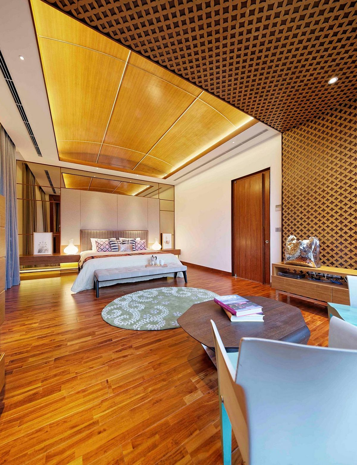 Lavish master bedroom combines modern and Javanese design elements
