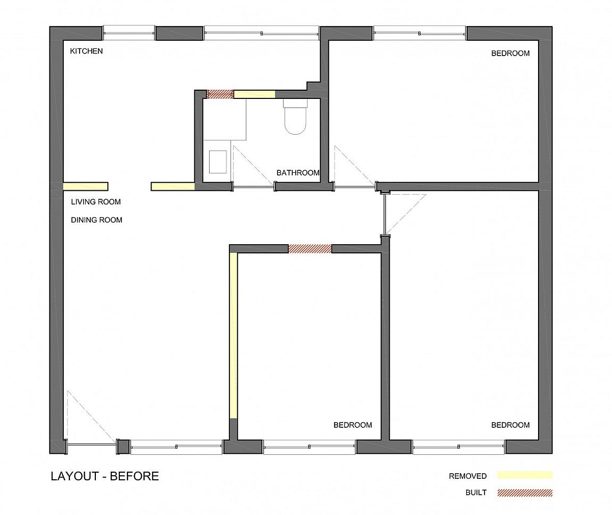 Layout of small Brazilian apartment before renovation