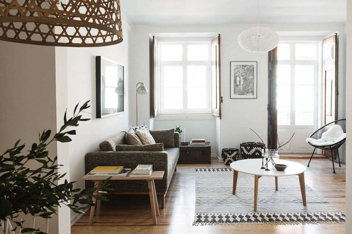 Light filled living room of renovated apartment in Lisbon Serenely Scandinavian: Light Filled Renovation of Lisbon Apartment