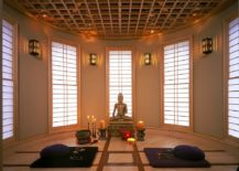 Lighting, design of the ceiling and the windows create a wonderful ambiance inside this Meditation room