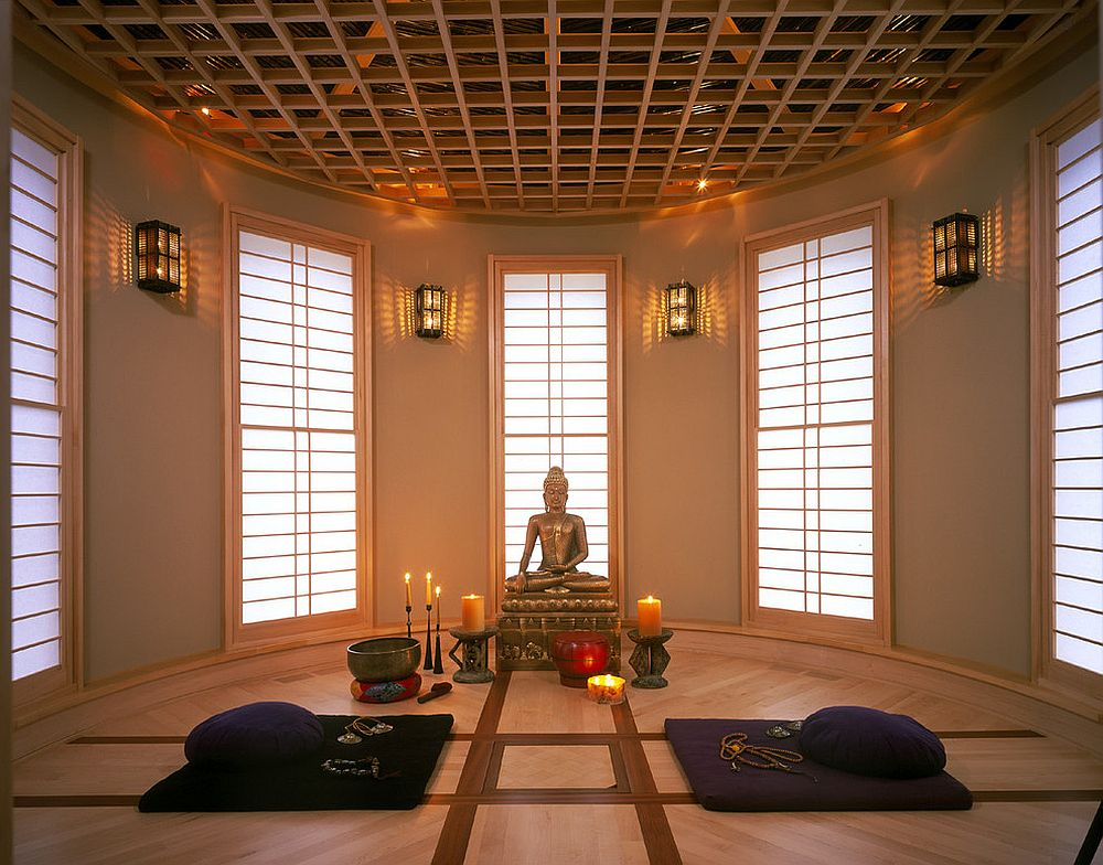 View in gallery Lighting  design of the ceiling and the windows create a  wonderful ambiance inside this Meditation. A World of Zen  25 Serenely Beautiful Meditation Rooms