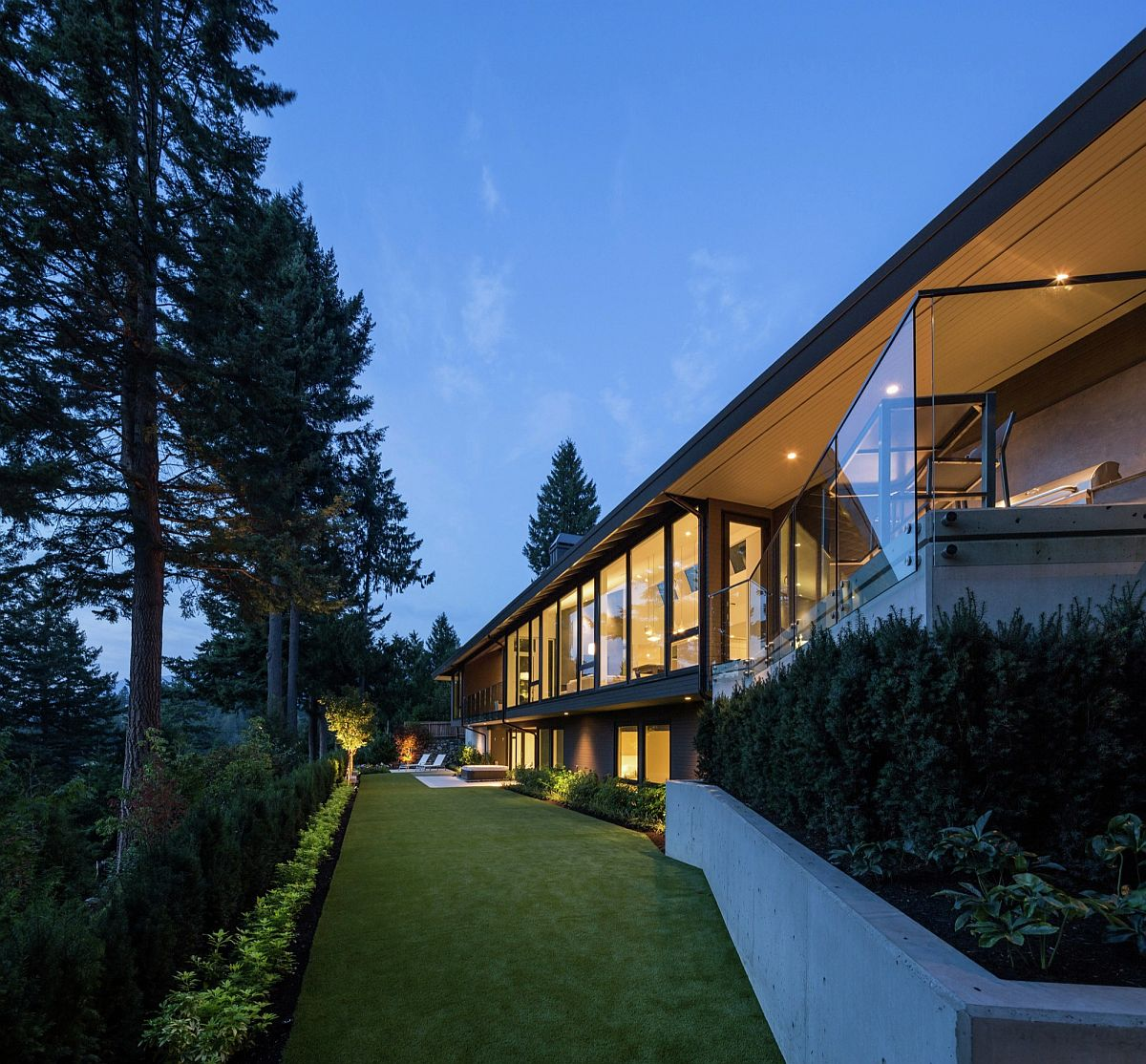 Long and simple yard that is open to the stunnning green views