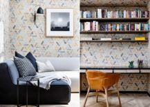Lovely wallpaper with original watercolour design by Quercus Co steals the show 217x155 25 Awesome Rooms That Inspire You to Try Out Geometric Wallpaper