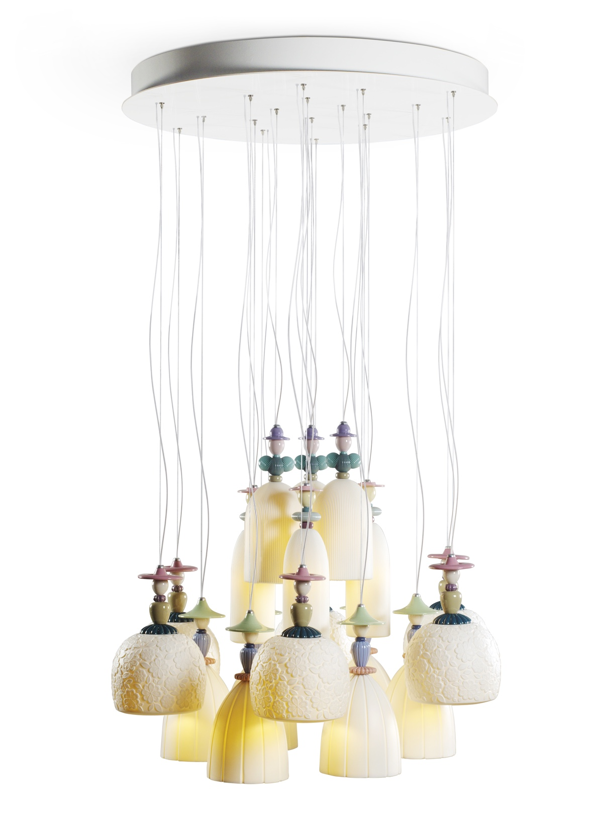 Mademoiselle chandelier from Lladró. Sculptor: Dept. Diseño y Decoración.