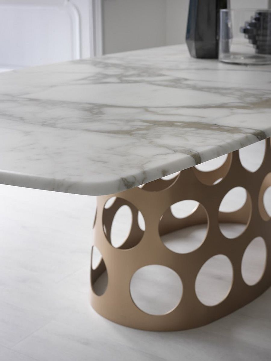 Marble top version of Jean is great for midcentury modern dining rooms