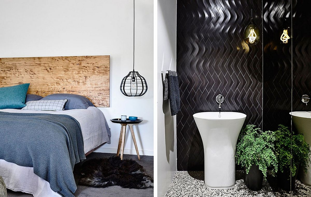 Master bedroom and bathroom at the contemporary Alphington House