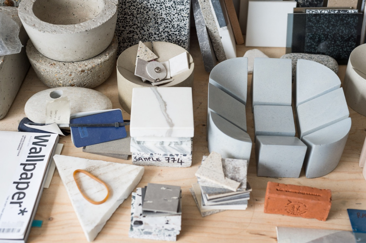 Materials inPhilippe Malouin's studio.Photograph bySebastianBöttcherviaFreunde von Freunden.