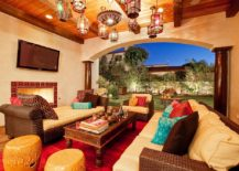 Mediterranean patio serves as a luxurious outdoor living space