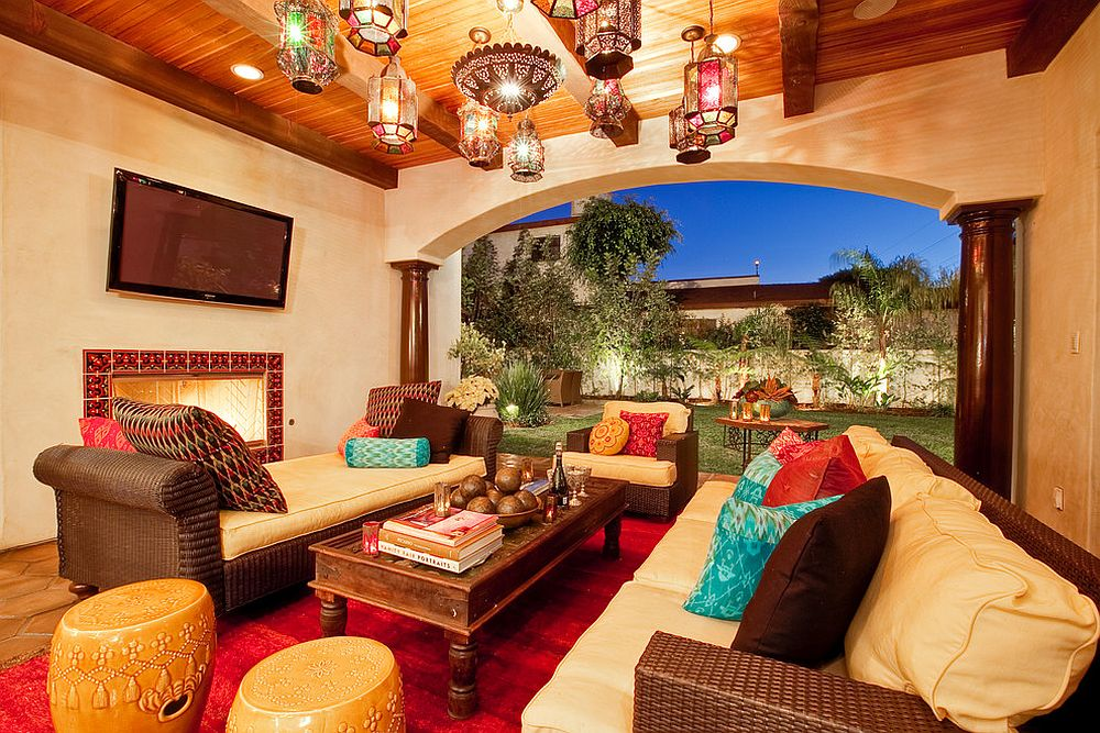 View In Gallery Mediterranean Patio Serves As A Luxurious Outdoor Living Space Design Studio Blu Luke