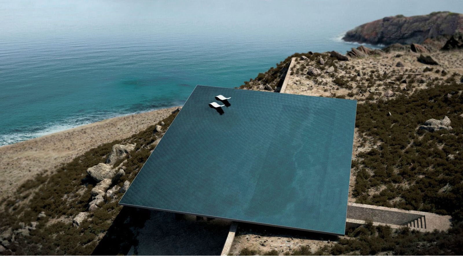 Mirage house rimless rooftop pool.