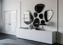 Mirror with smoked grey or bronze mirrored glass with bevelled edges
