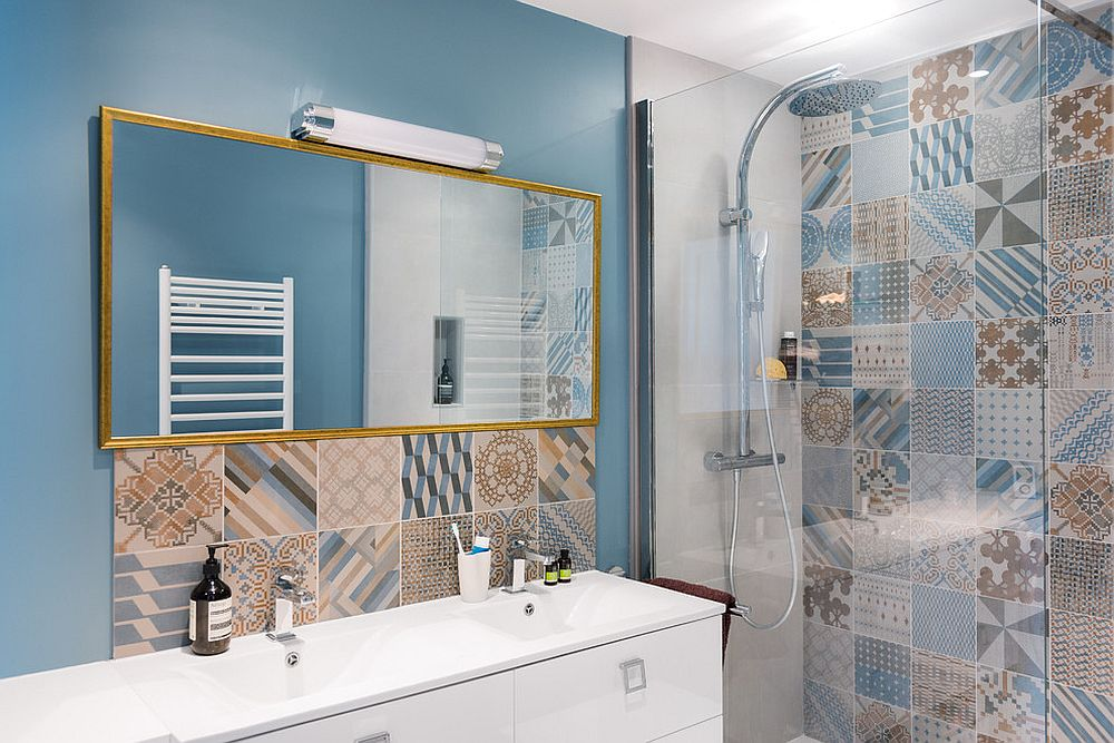 25 creative patchwork tile ideas full of color and pattern for Design your own bathroom tiles