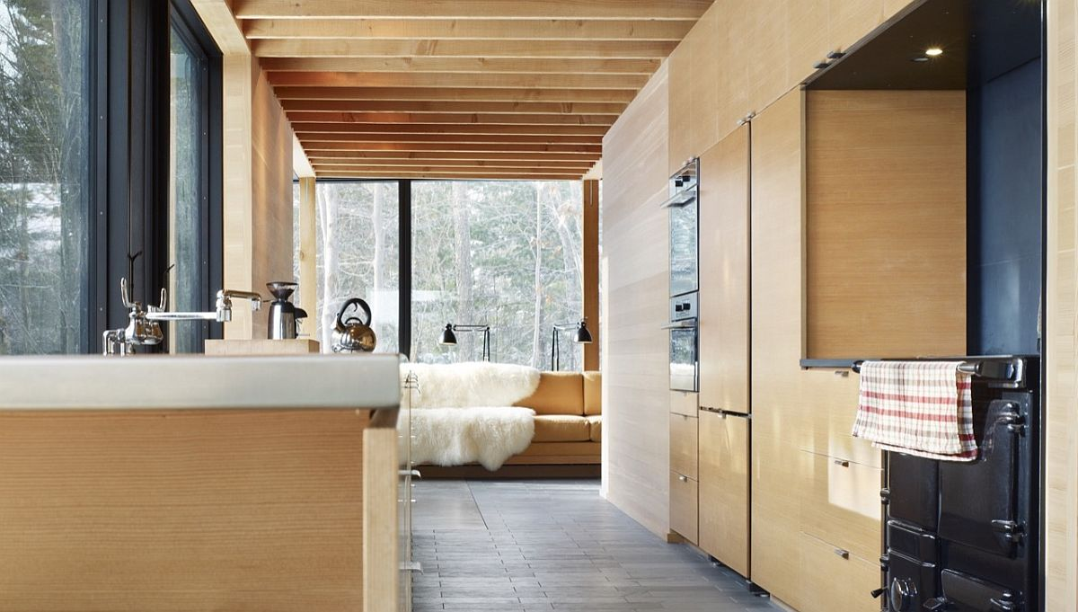 Mocern classic vacation home with a charming rough-sawn fir interior