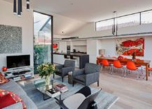 Modern and elegant decor along with pops of color for the open living 217x155 Sensible Alterations Enliven Small, Semi Detached Melbourne House