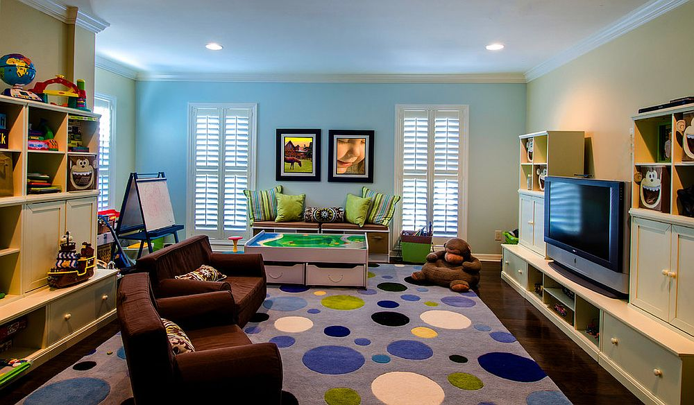 Modern kids' playroom with a rug in purple [Design: Sunset Properties of Tampa Bay]