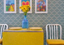 Modern retro dining space full of pattern and bold color